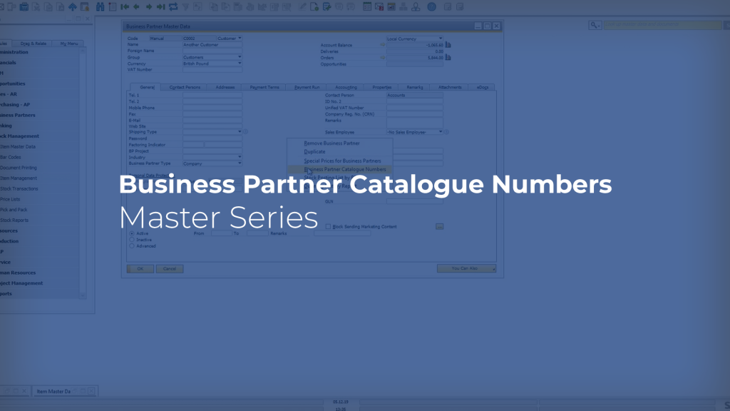 Business Partner Catalogue Numbers