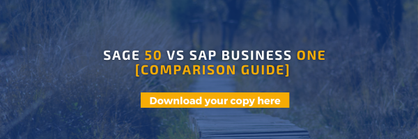 Sage 50 and SAP Business One compariosn guide download banner