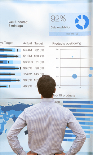 Man looking at large screen of business intelligence